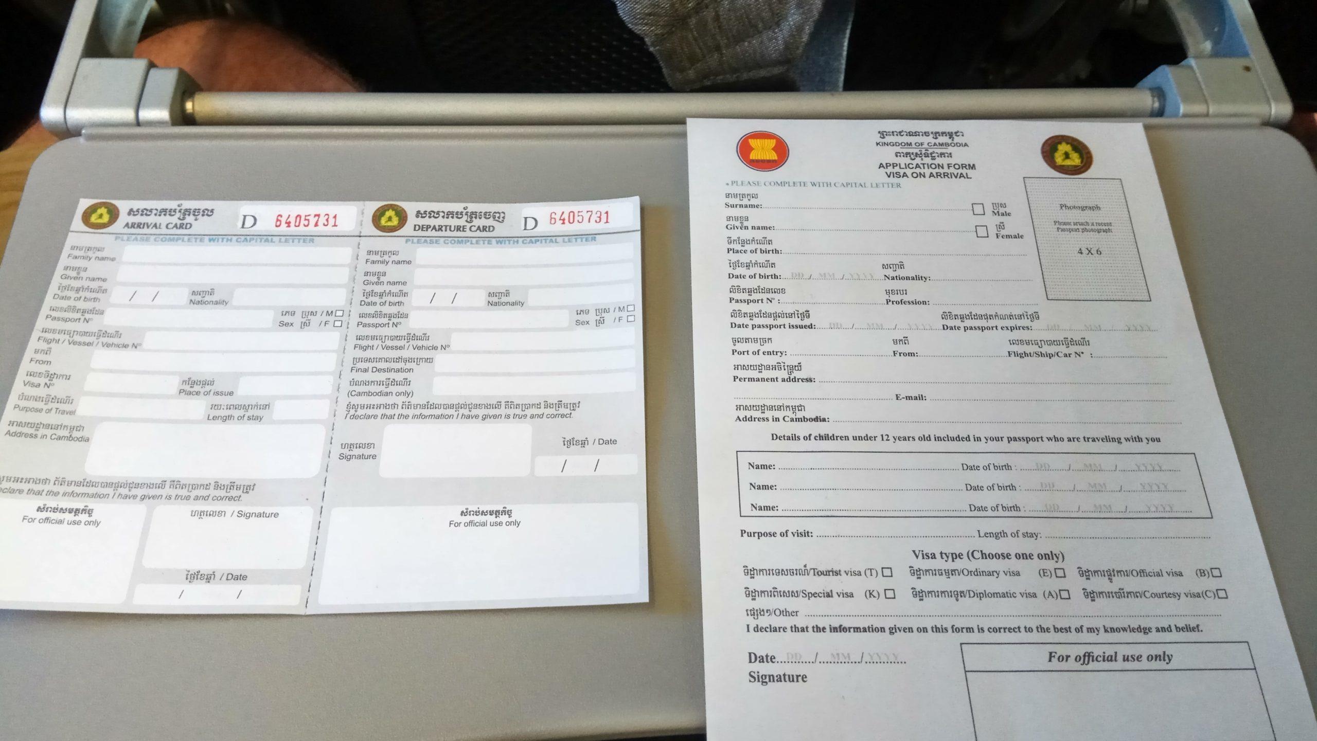 Papeles que hay que rellenar para hacer el visado en Siem Reap