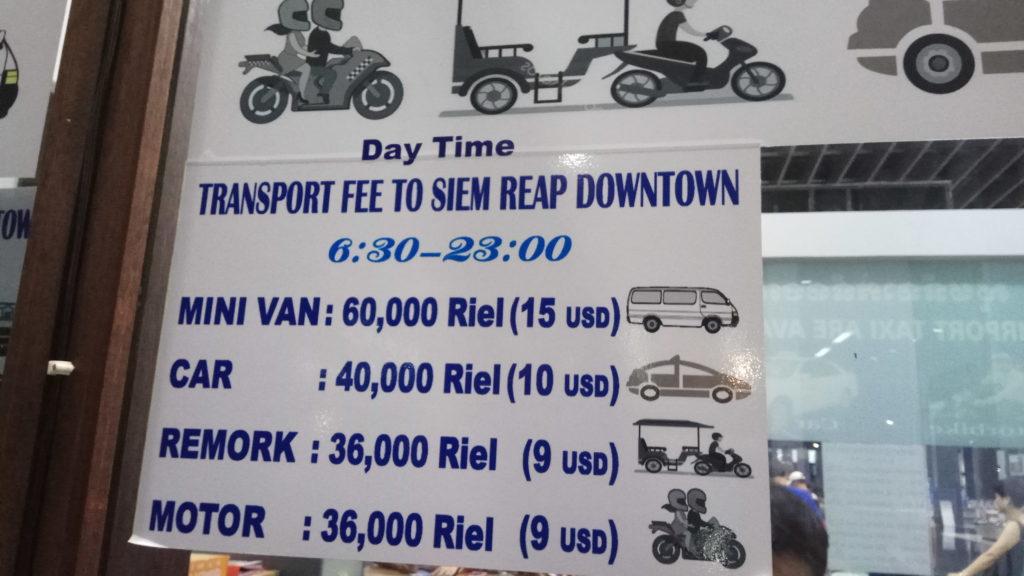 Precios de los transportes a la salida del aeropuerto